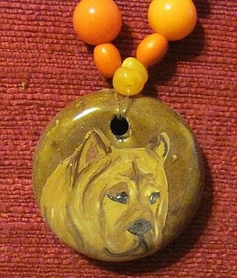 Chow Chow, smooth, hand painted on round ceramic pendant/bead/necklace