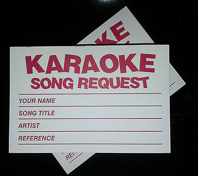 10 pads x 100 (1000x) Karaoke request slips Red FREE 1st CLASS POST