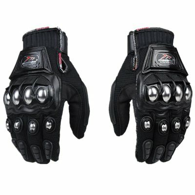 Steel Reinforced Brass Knuckle Motorcycle Motorbike Powersports Safety Gloves