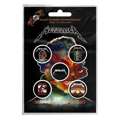Metallica badge pack 5 x Pin Button Band logo albums hardwired new Official