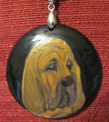 Bloodhound, hand painted on round, black Onyx Agate pendant/bead/necklace