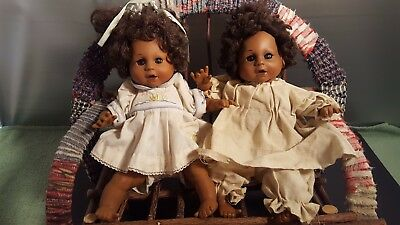 Vintage African American Two Baby Dolls  Wooded Bench