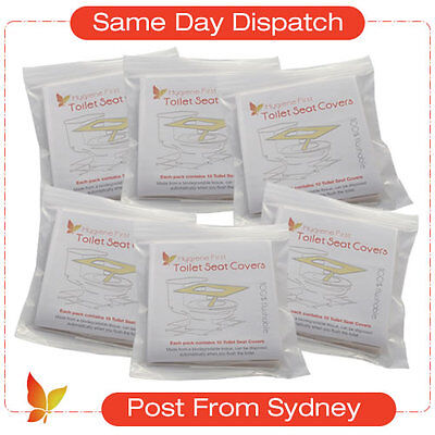 """Disposable Toilet Seat Covers 6 Pcks x 10 = 60 covers. """"Post From Sydney"""""""