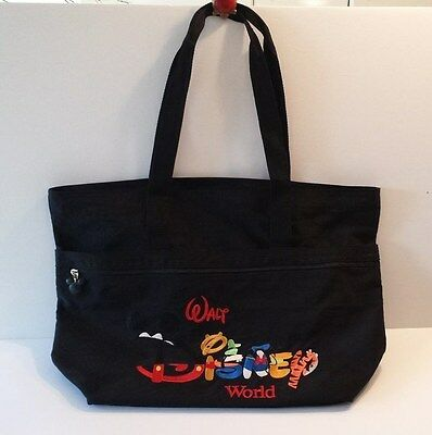 WALT DISNEY WORLD Black Tote Bag - Colorful Embroidery - Good Condition