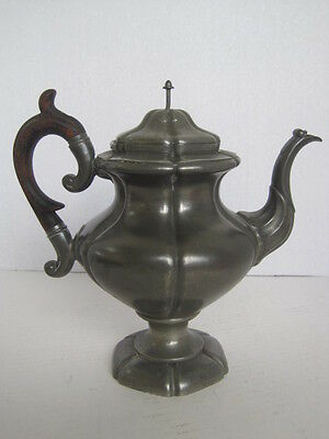 RARE Antique 1800s Pewter & Wood Tea Pot Roswell Gleason Collectible Dark Gray