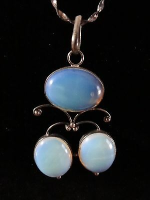 Antique Art Deco Sterling Silver Opal Glass Pendant Italy .925 Necklace