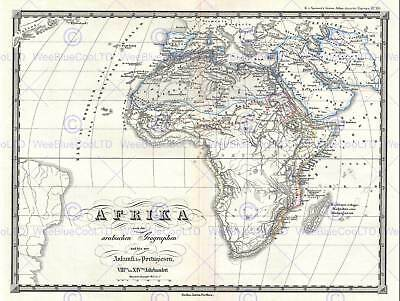 1855 Spruner Map Africa From The 8Th To The 14Th Century Poster Print 2922Py