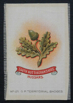 SOUTH NOTTINGHAMSHIRE HUSSARS Silk Territorial Badge issued in 1913