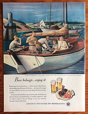 1948 BEER BELONGS Print Ad, Picnic on the Boat, Art by Steven Dohanos