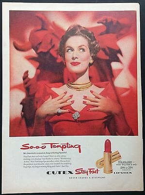 "1954 CUTEX ""So-o-o Tempting"" LIPSTICK PRINT AD, Red Devil, Lips, Nails, Dress"