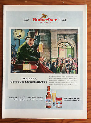 1952 BUDWEISER BEER Print Ad, One Hundred Year Anniversary, Coachman