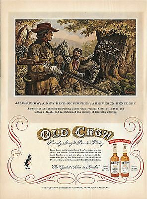 1954 OLD CROW Print Ad - James Crow, a new kind of pioneer, arrives in Kentucky