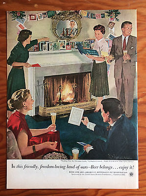 1953 BEER BELONGS Print Ad, Looking over the Christmas Cards, Douglass Crockwell