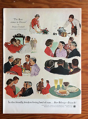 1954 BEER BELONGS Print Ad, Boss Comes to Dinner, Art by Douglass Crockwell