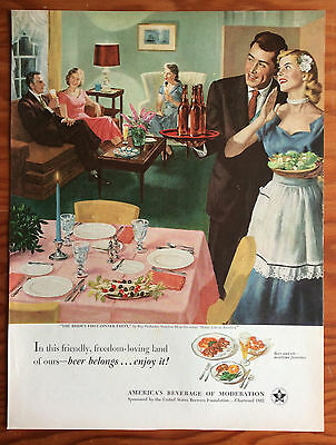 1952 BEER BELONGS Print Ad, Bride's First Dinner Party, Art by Ray Prohaska
