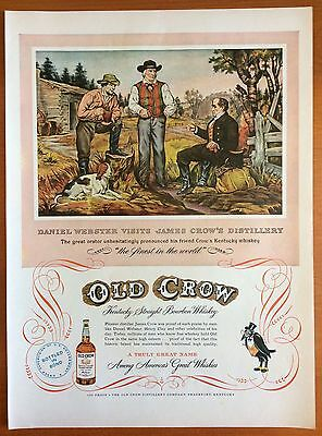 1952 OLD CROW Bourbon Rye Whiskey Print Ad - Daniel Webster visits Distillery