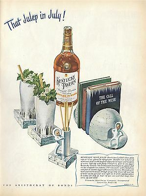 "1946 KENTUCKY TAVERN PRINT AD, ""That Julep in July!"" Nice Art, Igloos, Eskimos"