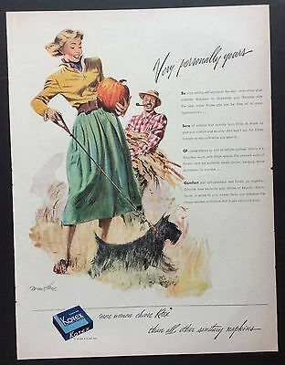 "1949 KOTEX ""Very Personally Yours"" PRINT AD, Scottie Dog, Artist Tom Hall"