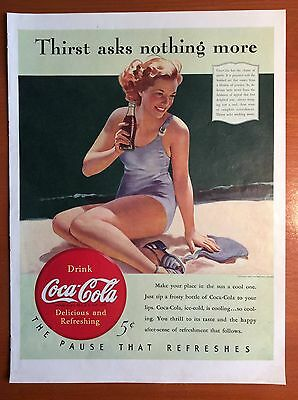 1940 COCA COLA Print Ad - Girl in Bathing Suit drinking Coca Cola, Beach