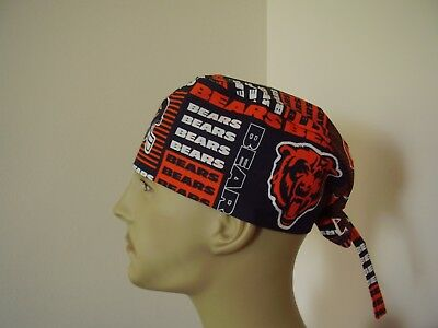 Surgical Scrub Hat/ Cap - CHICAGO BEARS (b) - NFL - One size- Handmade Men Women