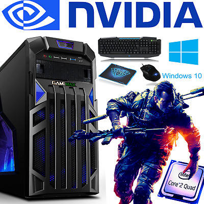 ULTRA FAST Intel Quad Core Gaming PC Tower WIFI 8GB 1TB HDD Win 10 4GB GTX 1050