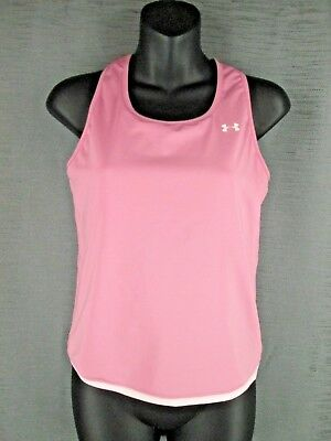 Under Armour Pink Racerback Tank Top W/ Bra Youth Large L Athletic Sports