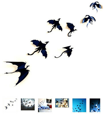+ ADESIVO 7 PEZZI CREATIVO IN 3 D DRAGO Gothic Dragons Wall HALLOWEEN CARNEVALE