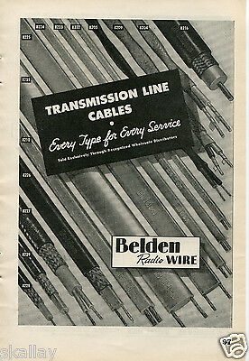 1948 Print Ad of Belden Radio Wire Transmission Line Cables