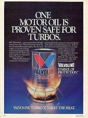 1984 Valvoline Turbo V Motor Oil Take The Heat Print Ad