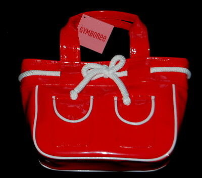 Gymboree Wish You Were Here Red Patent Tote Bag Purse Nautical NEW NWT