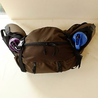 Horse saddle bag,Western cantle pack. BROWN NYLON PU waterproof fabric, Free P&P