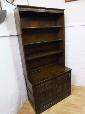 Ercol Solid Wood Bookcase Display Cabinet, 2 Drawers Over Cupboard.