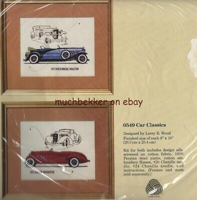 Creative Circle Embroidery KIT #0549, CAR CLASSICS, Set of 2, each 8x10, sealed