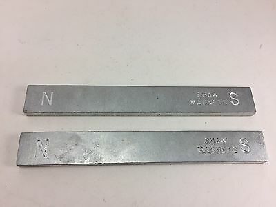 """2 Piece Set Of Shaw Magnet Bars 6"""" Long N And S Marked"""