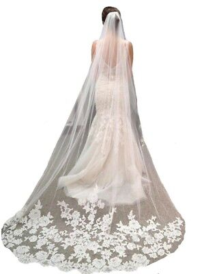 New Bridal Veil Ivory Lace Tulle Edge with Comb Cathedral Length Wedding Dress