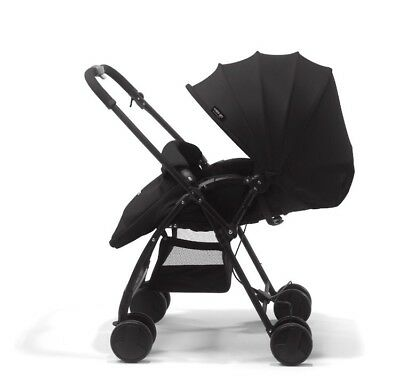 mee-go Feather Black Front and rear facing pushchair