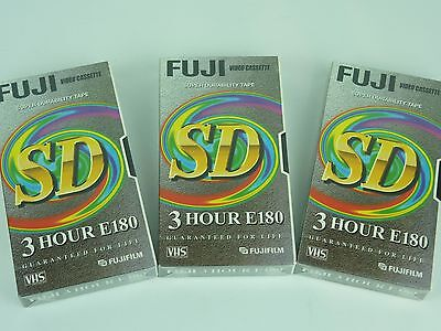 3 x VHS Video Blank Cassettes Tapes Fuji SD - NEW AND SEALED - E180 - 3 Hours