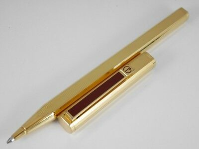 dunhill Dress Gold Plated Pinstripe Bordeaux Clip Ballpoint Pen