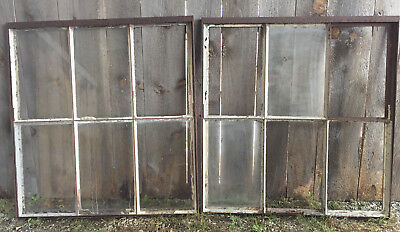 Pair of Large Antique French Greenhouse Windows Hinged with Rusted Metal