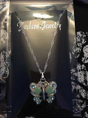Blue Butterfly Necklace, Childs, Rhinestones Summer Enamel