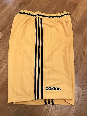 New With Tags Vintage Adidas Basketball Shorts Sheffield Sharks Yellow/Blue XL