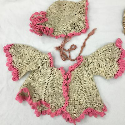 Antique hand crocheted baby sweater & cap with rosette (early 1900's)