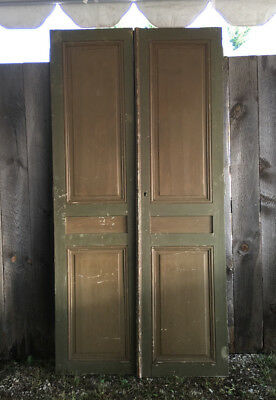 Antique French Green and Brown Painted Panel Chateau Double Doors Old Hardware