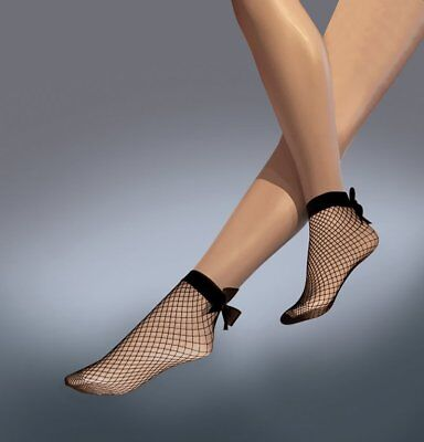 Ladies Fishnet Ankle High Socks by Silky - One Size in Black