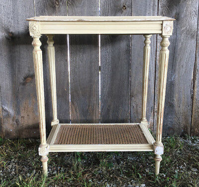 Darling Shabby Marble Top Antique French Side Table or Nightstand Carved Details