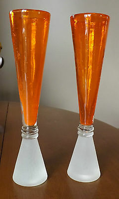Heavy Glass Vases - Striking Orange Top and Frosted Bottom - Sophisticated