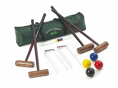 Cottage Croquet Set - 4 Player Adult Croquet Set with Full Size Balls in a Bag