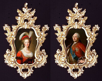 Marie Antoinette and Louis XVI (red) in Baroque frame.French Royal  Wall decor.