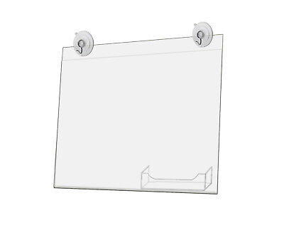 Window Sign Holder with Card Pocket 11 x 8.5 Inch with 2 Suction Cups Lot of 2