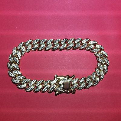 Miami Cuban Link Bracelet Iced Out '.925 Sterling Silver' 10Mm 8 Inches